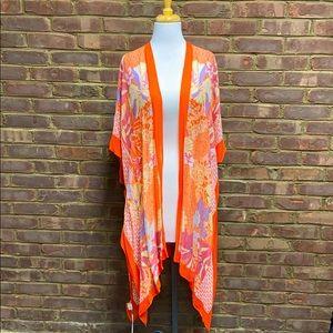 2 Chic Orange Floral Long Kimono Cape Swim Cover